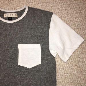 Kinetix Men's S/S Crew-neck Gray & White Tee Small